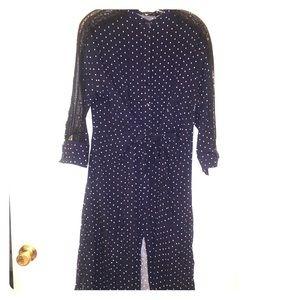 Zara polka dot and lace midi shirt dress sz L